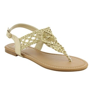TIARA AG34 Women's Braided Ankle T Strap Thong Flat Sandals