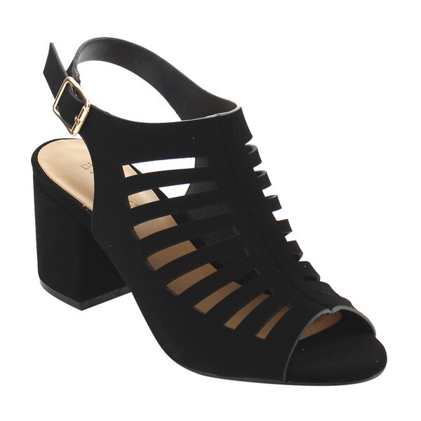 81415e74b89 BAMBOO EG98 Women  x27 s Cut Out Caged Sling back Buckle Strap Chunky Heels
