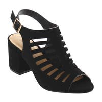 BAMBOO EG98 Women's Cut Out Caged Sling back Buckle Strap Chunky Heels