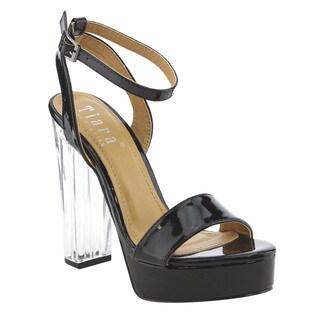TIARA AG40 Women's Lucite Clear Chunky Heel Platform Buckle Sandals