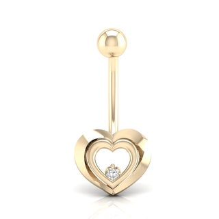 De Couer 14k Gold 1/20 TDW Diamond Belly Ring - White