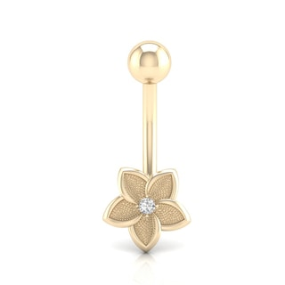 De Couer 14k Gold 1/20 TDW Flower Belly Ring