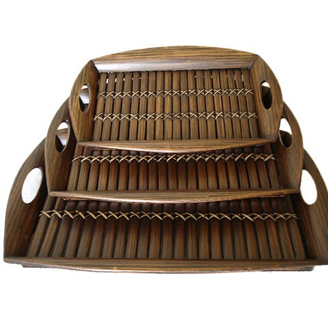 Handmade Set of 3 Bamboo Serving Trays (Indonesia)