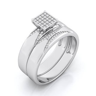 Plutus Sterling Silver 1 Carat Total Cz Weight Micro Pave Wedding Set