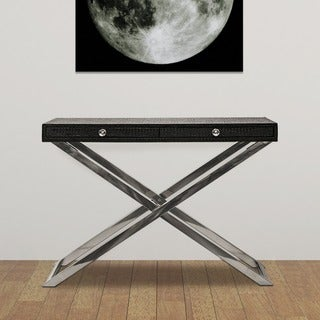 Empire Art - Black Ostrich Leather Side Tray Table