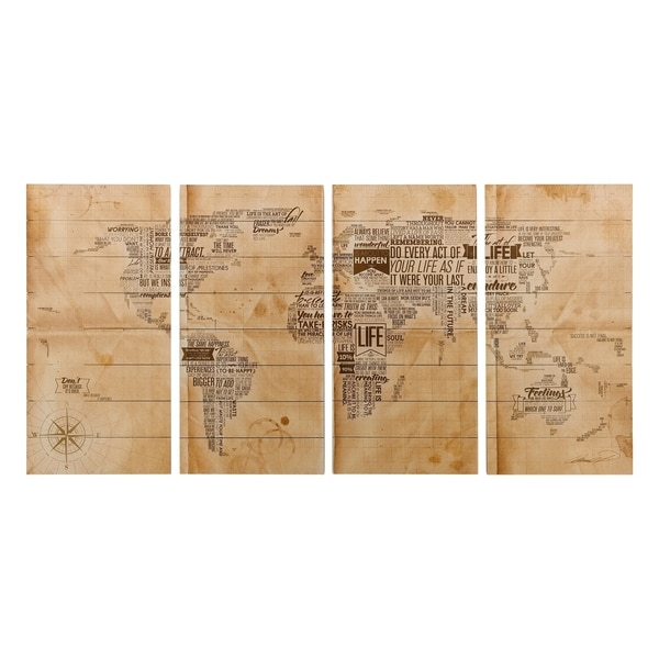 World Map Wall Art Giclee Printed on Solid Fir Wood Planks