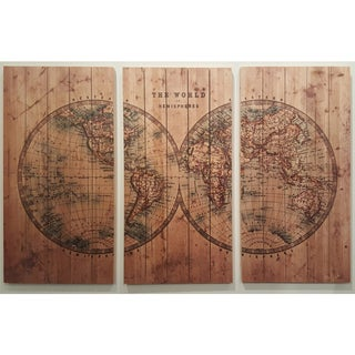 Empire Art - Cartography Fine Art Giclee Printed On Solid Fir Wood Planks