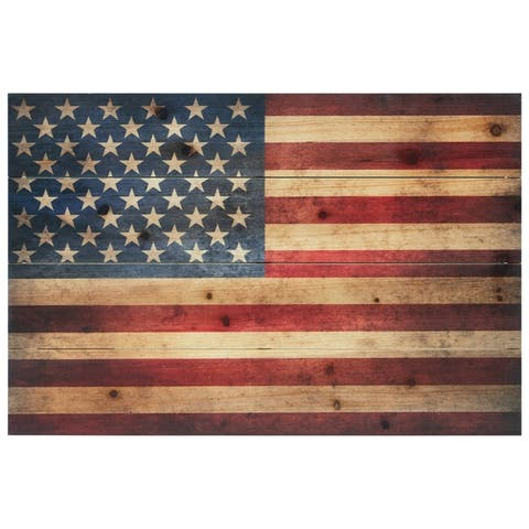 American Flag Wall Art Printed on Solid Fir Wood Planks
