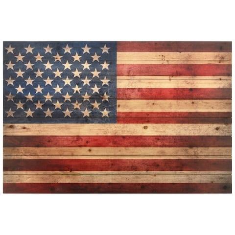 American Flag Wall Art Printed on Solid Fir Wood Planks