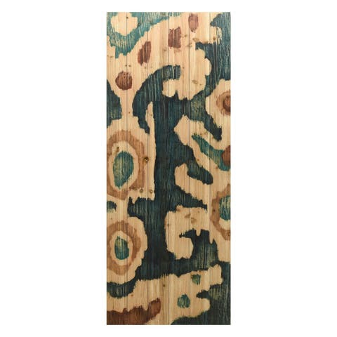Ocean Ikat Abstract Wall Art Giclee Printed on Solid Fir Wood Planks