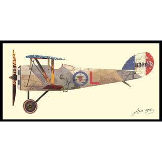 """""""Antique Biplane #1"""" Hand Made Art Collage in Solid Wood Black Frame Under Glass Wall Art - Multi-color"""