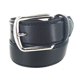 Faddism Men's Genuine Leather Belt Rounded Square Silver Buckle