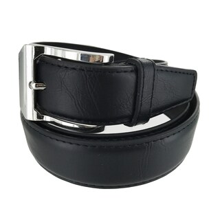 Faddism Men's Genuine Leather Square Wavy Silver Buckle