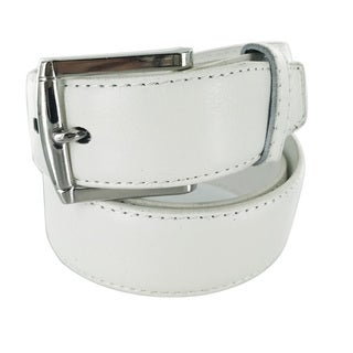 Faddism Men's Genuine Leather White Belt Squared Silver Buckle