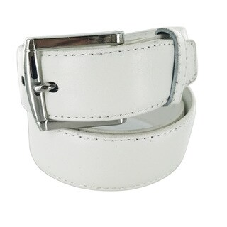 Faddism Men's Genuine Leather White Belt Squared Silver Buckle (3 options available)