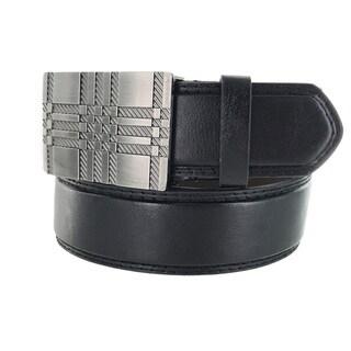 Faddism Men's Genuine Leather Silvertone Cross Metal Buckle Belt