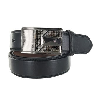 Faddism Men's Genuine Leather Silver Gradient 2tone Plate Belt