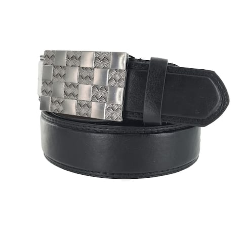 Faddism Men's Genuine Leather Silver Checker Buckle Belt