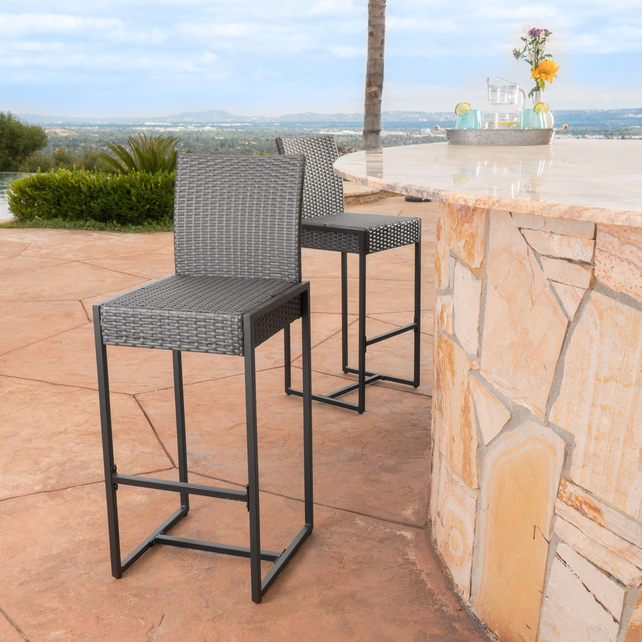 Conway Outdoor Wicker Barstool Set