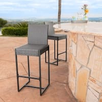 Conway Outdoor Wicker Barstool (Set of 2) by Christopher Knight Home