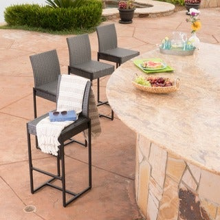 Conway Outdoor Wicker Barstools (Set of 4) by Christopher Knight Home