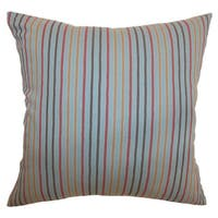 Lesly Stripes 24-inch  Feather Throw Pillow Blue Grey