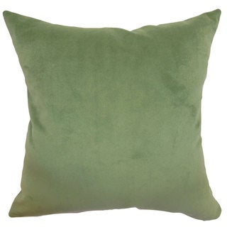 "Generys Solid 24"" x 24""  Feather Throw Pillow Forest"