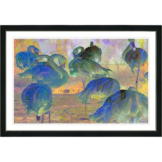 Studio Works Modern Framed Fine Art Contemporary Bird Landscape 'Abstract Flamingos' Wall Art Painting Giclee Print Zhee Singer