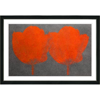 Studio Works Modern Framed Fine Art Floral Still Life Painting 'Twin Tulips' Wall Art Giclee Print by Zhee Singer
