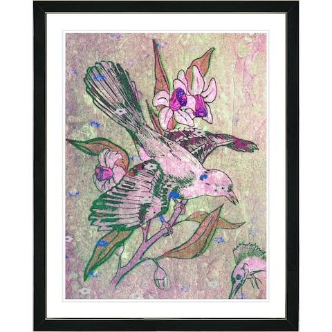 Studio Works Modern Framed Fine Art Bird Still Life Painting 'Humming Bird' Wall Art Giclee Print by Zhee Singer