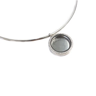 Mother's Day Floating Silver Locket Pendant Necklace for Women