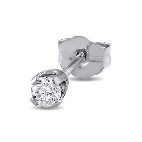Miadora 14k White Gold Single 1/10ct Diamond Earrings