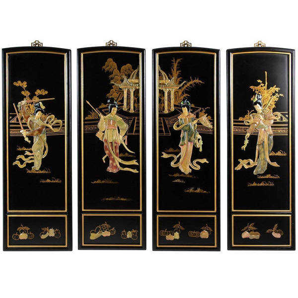 Handmade Lady Generals Wall Plaques Set of 4 (China)