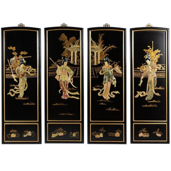 handmade lady generals wall plaques set of 4 china free shipping today 1140253. Black Bedroom Furniture Sets. Home Design Ideas