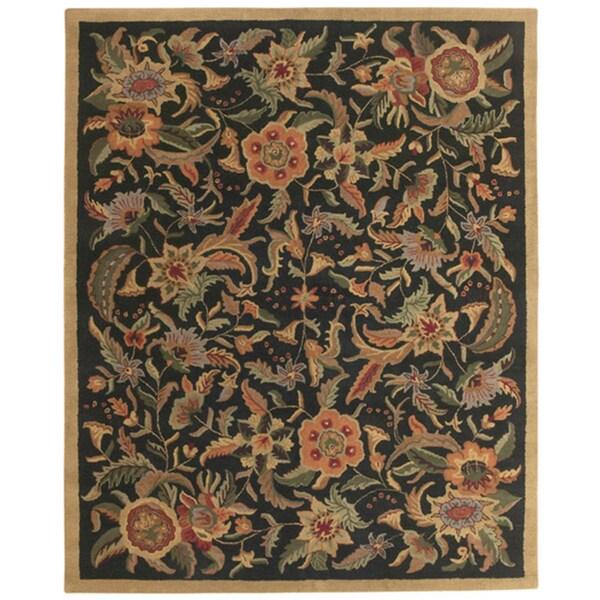Hand-tufted Paradise Black/ Multi Wool Rug (5' x 8') - 5' x 8'