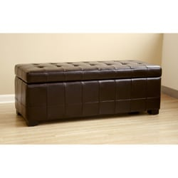 Routhledge Tufted Bi-cast Leather Storage Bench - Thumbnail 1