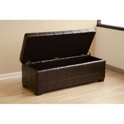 Routhledge Tufted Bi-cast Leather Storage Bench - Thumbnail 2