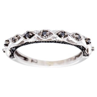 10k White Gold with Black Rhodium 1/8ct TDW Black Diamond Vintage Infinity Anniversary Band by Miadora