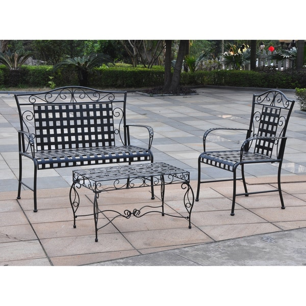 Elegant International Caravan Mandalay 3 Piece Iron Patio Conversation Set