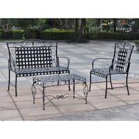 International Caravan Mandalay 3-Piece Iron Patio Conversation Set