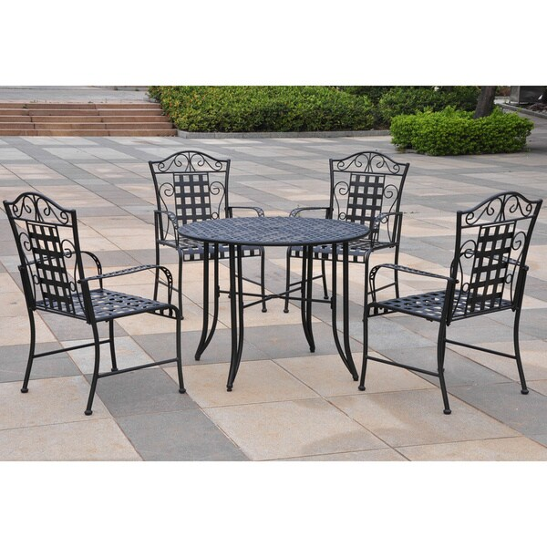 International Caravan Five-piece Wrought Iron Patio Set