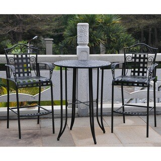 International Caravan Mandalay Outdoor Iron Bar Bistro Set (Set of 3) (3 options available)