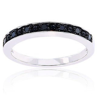 Miadora Sterling Silver Black Diamond Stackable Anniversary Wedding Band Ring
