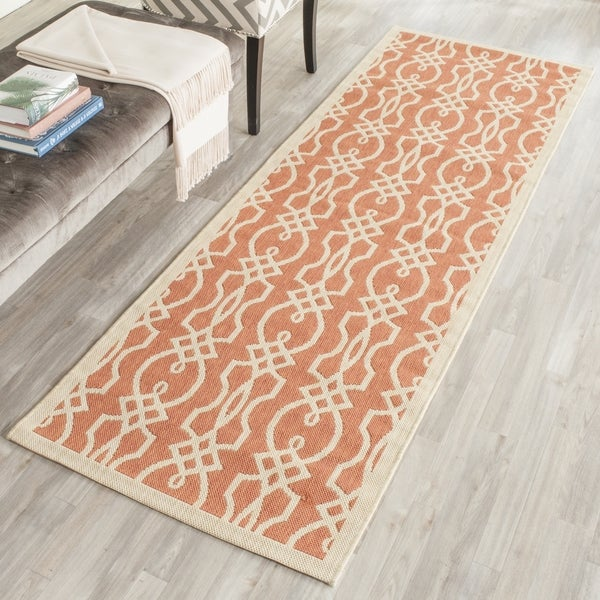 Martha Stewart by Safavieh Villa Screen Cinnamon Stick / Pink Runner Rug - 2'7 x 8'2