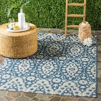 Martha Stewart by Safavieh Tulip Medallion Grey / Navy / Grey / Navy Area Rug - 5'3 x 7'7