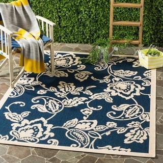 Martha Stewart by Safavieh Highland Lily / Navy / Beige Area Rug (4' x 5'7)