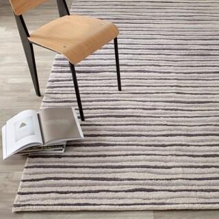 Martha Stewart by Safavieh Hand Drawn Stripe Wampum Purple Wool / Viscose Area Rug (2'6 x 4'3)