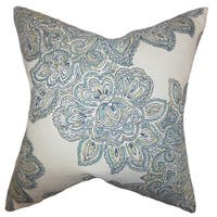 Haldis Floral 24-inch Down Feather Throw Pillow Sea Green