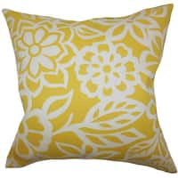 Ozara Floral 24-inch  Feather Throw Pillow Yellow