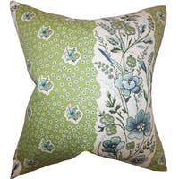 Elske Floral 24-inch  Feather Throw Pillow Cactus Green